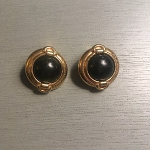 Vintage Black and Gold Tone Earrings